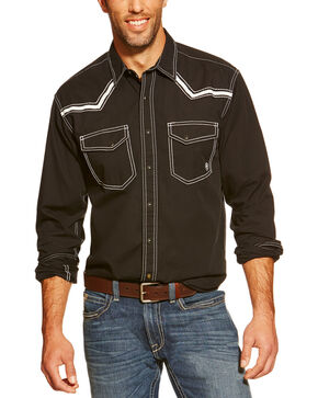 Ariat Men's Retro Clint Long Sleeve Snap Western Shirt, Black, hi-res
