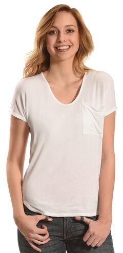 Derek Heart Women's Extended Cap Sleeve Hi Low Shirt - White, White, hi-res