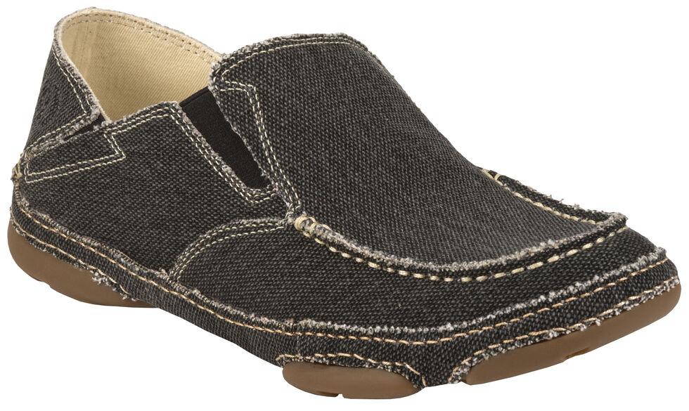Tony Lama Men's Coal Black 3R Casuals Canvas Shoes - Moc Toe , Black, hi-res