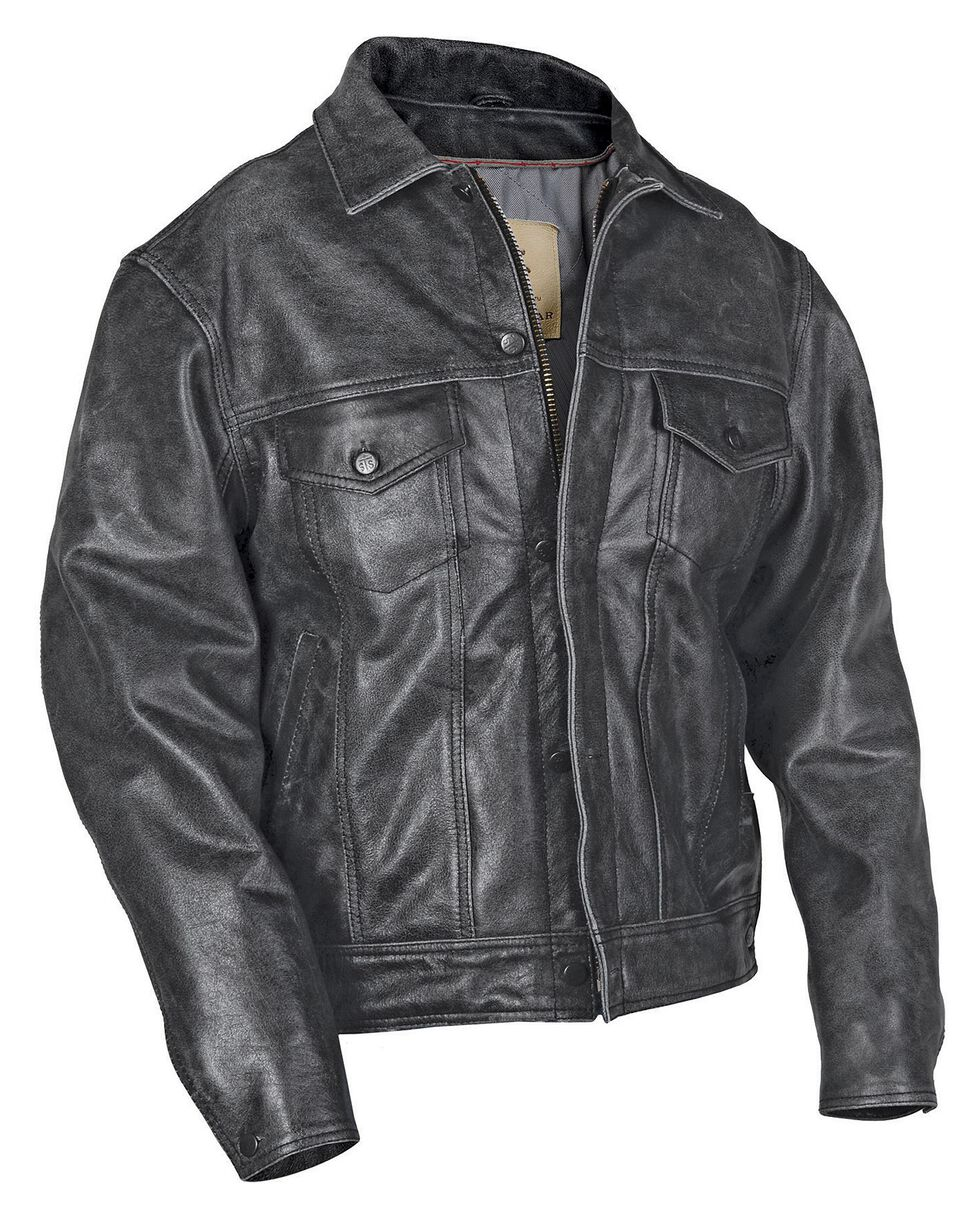 STS Ranchwear Men's Maverick Black Leather Jacket - Big & Tall - 4XL, Black, hi-res