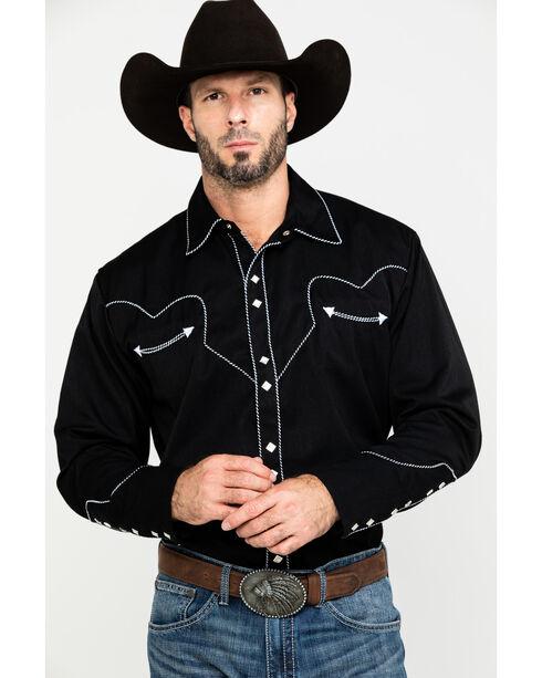 Scully Men's Black Long Sleeve Western Shirt , , hi-res