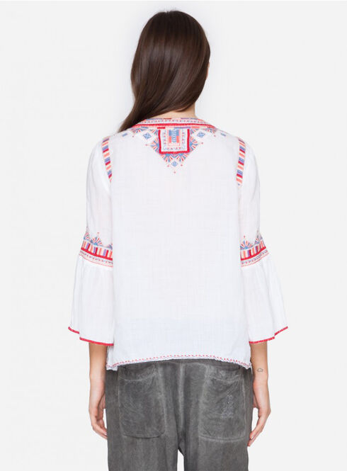 Johnny Was Women's White Willow Flare Sleeve Top, White, hi-res