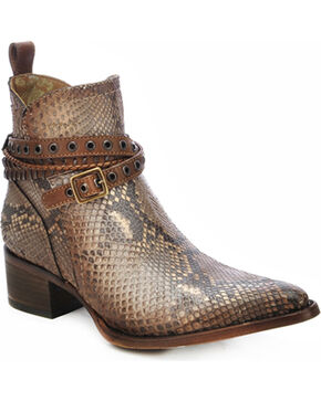 Corral Python Studded Strap Ankle Boots - Pointed Toe, Tan, hi-res