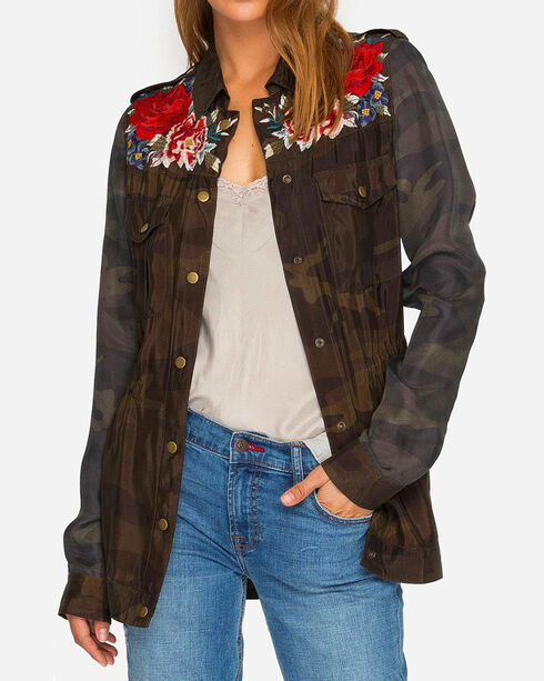 Johnny Was Women's Camo Mica Drawstring Military Coat , Camouflage, hi-res