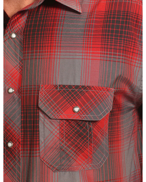 Crazy Cowboy Men's Red and Black Plaid Western Snap Shirt  , Red, hi-res
