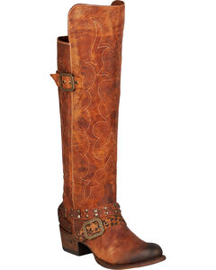 Lane Julie Knee-High Cowgirl Boots - Round Toe, Brown, hi-res