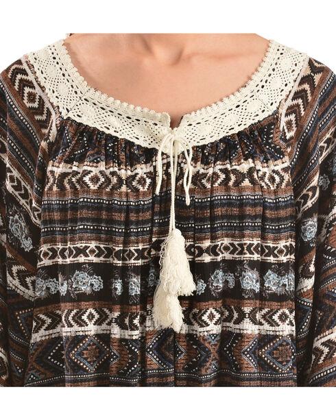 Wrangler Women's Printed Crochet Trim Peasant Top, Multi, hi-res