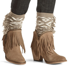Shyanne Women's Aztec Fringe Boot Cuffs, Natural, hi-res