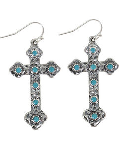 Shyanne Women's Turquoise Cross Earrings , Silver, hi-res