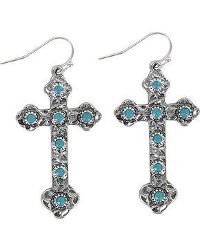 Shyanne Women's Turquoise Cross Earrings , Silver, hi-res