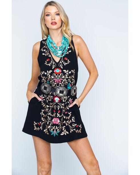 MI. OH. MI. Women's Sleeveless Floral Embroidered Dress, Black, hi-res
