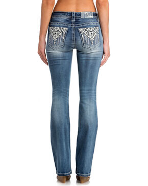 Miss Me Women's Indigo Tribal Pocket Jeans - Boot Cut , Indigo, hi-res