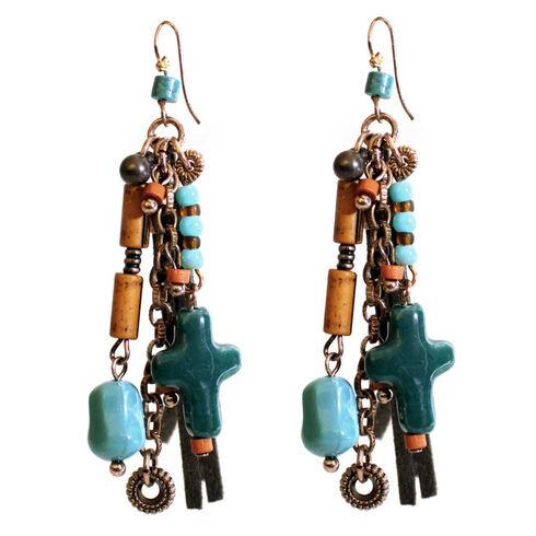 Treska Women's Santa Fe Cord Bead & Chain Earrings , Multi, hi-res