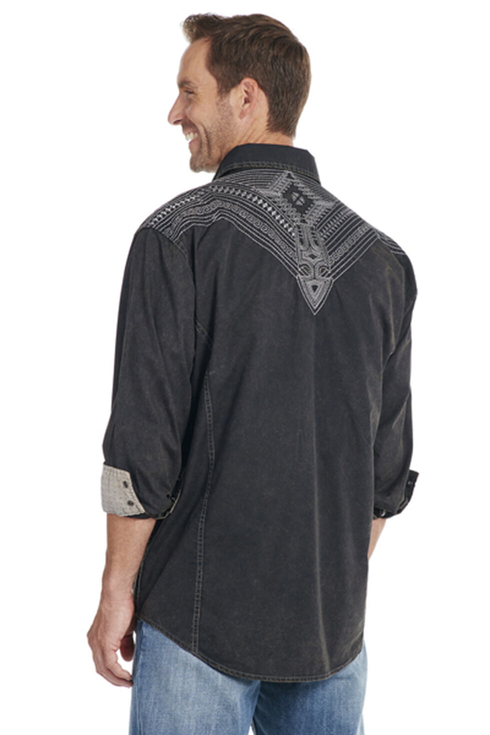 Cowboy Up Men's Black Embroidered Yoke Solid Shirt, Black, hi-res