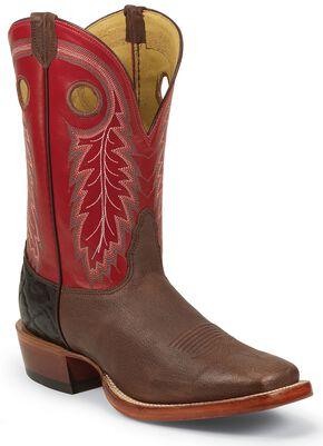 Nocona Caprock Cowboy Boots - Square Toe, Brown, hi-res
