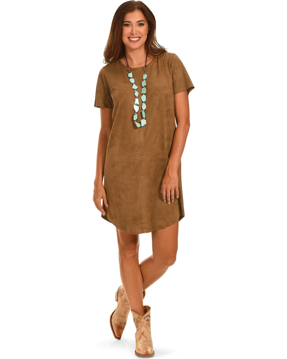 Cowgirl Justice Women's Trail Dust Faux Suede Dress, Brown, hi-res
