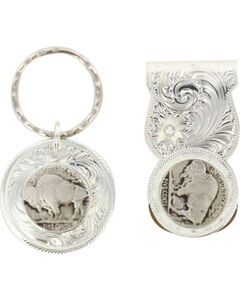 Montana Silversmiths Buffalo Nickel Money Clip & Key Ring, Silver, hi-res