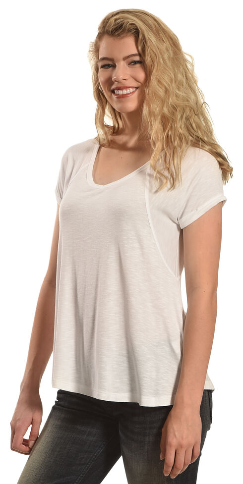 Derek Heart Women's Raglan Cuff Sleeve V-Neck Swing Top, White, hi-res