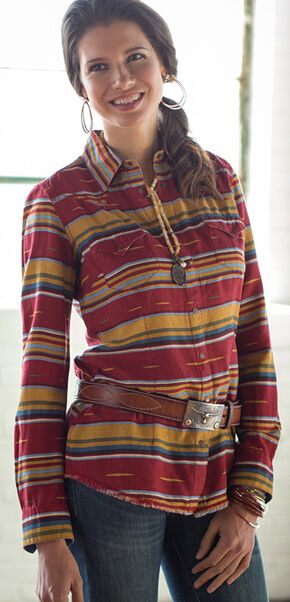 Ryan Michael Women's Serape Western Shirt , Red, hi-res