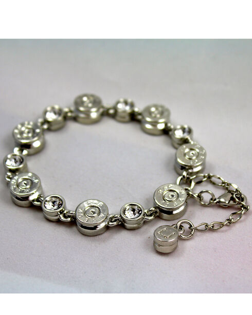 SouthLife Supply Women's Clara Bullet Link Bracelet in Traditional Silver with Crystal, Silver, hi-res