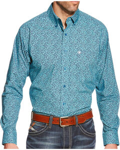 Ariat Men's Blue Print Walker Long Sleeve Shirt , Med Blue, hi-res
