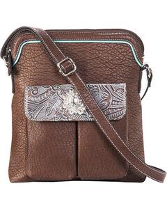 Blazin Roxx Women's Myra Crystal Messenger Handbag , Brown, hi-res