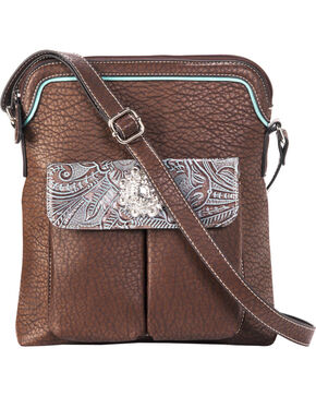 Blazin Roxx Women's Myra Crystal Messenger Handbag , Brown, hi-res