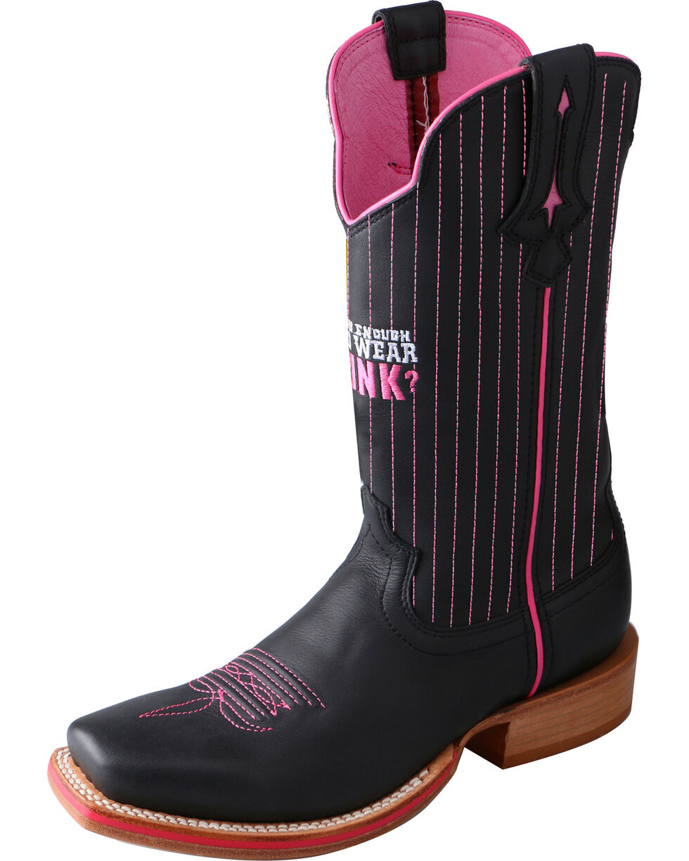 Twisted X Women's Tough Enough to Wear Pink Red River Cowgirl Boots - Square Toe, Black, hi-res