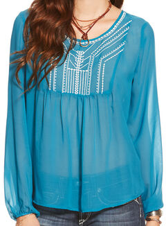 Ariat Women's Celestial Blue Molly Chiffon Top , Blue, hi-res