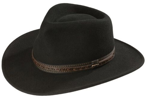 Scala Crushable Wool Outback Hat, Black, hi-res