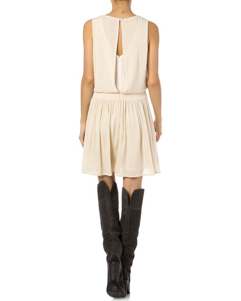 Miss Me Sleeveless Embroidered Taupe and Black Dress, Beige, hi-res