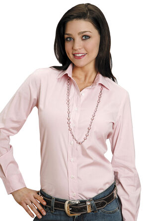 Stetson Women's End on End Solid Button-Down Shirt, Pink, hi-res