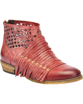 Corral Burnished Strappy Lasercut Short Boots - Round Toe, Red, hi-res