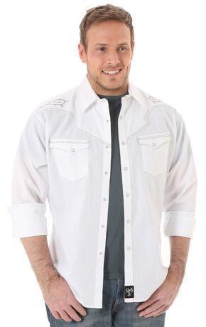 Wrangler Rock 47 Men's White Embroidered Shirt, White, hi-res