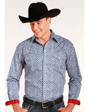 Rough Stock by Panhandle Men's Rowlet Vintage Print Long Sleeve Snap Shirt, Blue, hi-res