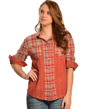 Miss Me Women's Pink Mix Match Plaid Top, Pink, hi-res