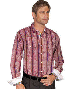 Scully Scroll Overprint Striped Western Shirt, Burgundy, hi-res