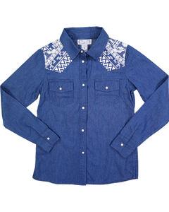 Shyanne Girls' Denim and Aztec Long Sleeve Shirt, Blue, hi-res