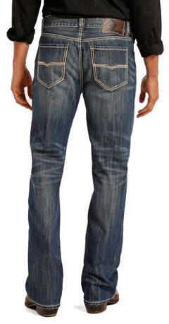 Rock and Roll Cowboy Double Barrel Medium Wash Cream Embroidered Jeans - Straight Leg , , hi-res