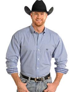 Panhandle Slim Men's Long Sleeve Diamond Print Shirt , Blue, hi-res