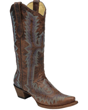 Corral Women's Full Stitch Cowgirl Boots - Snip Toe, Cognac, hi-res