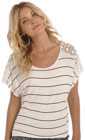 Rock & Roll Cowgirl Women's Natural Crochet Shoulder Shirt , Natural, hi-res