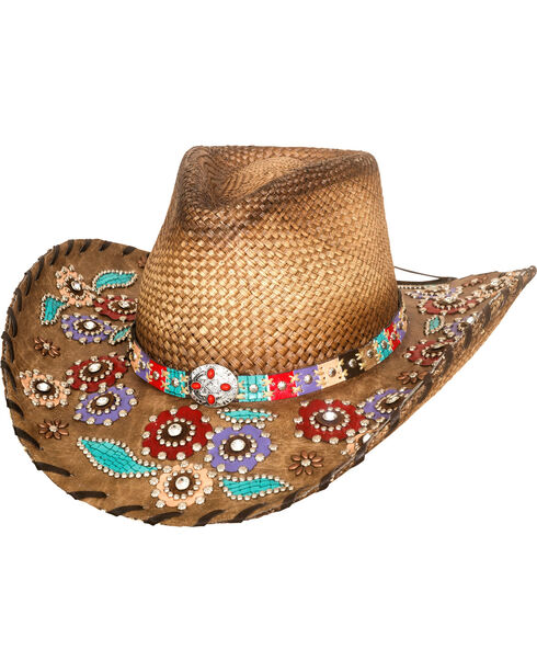Bullhide Women's Setting The World Panama Straw Cowgirl Hat , Natural, hi-res