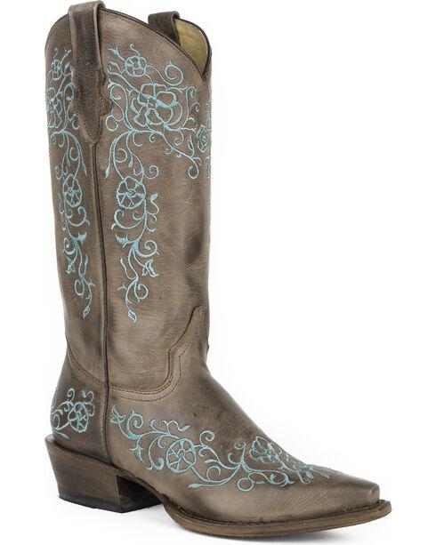 Roper Women's Brown Bouquet Western Boots - Snip Toe , Brown, hi-res