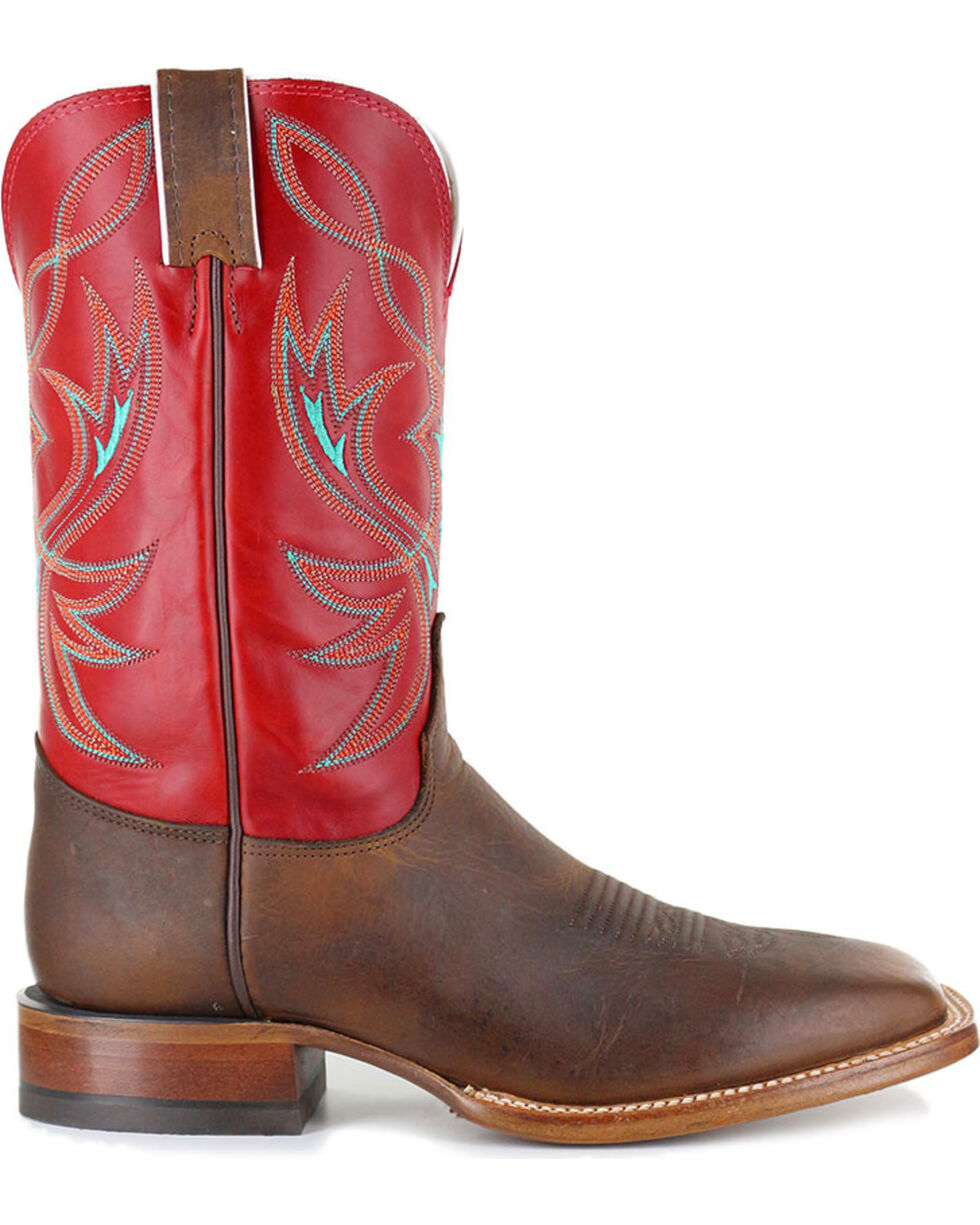 Justin Men's Red Upper Two Toned Cowboy Boots - Square Toe , Brown, hi-res