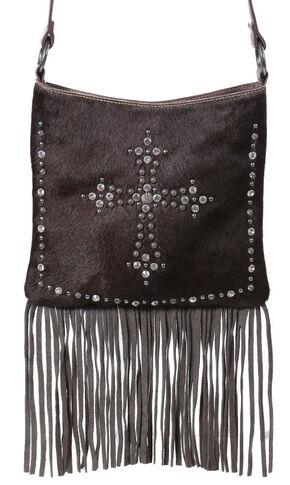 Shyanne Women's Hair-on-Hide Embellished Cross Brown Crossbody Purse, Brown, hi-res