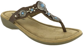 Minnetonka Women's Boca Thong III Sandals, Dark Brown, hi-res