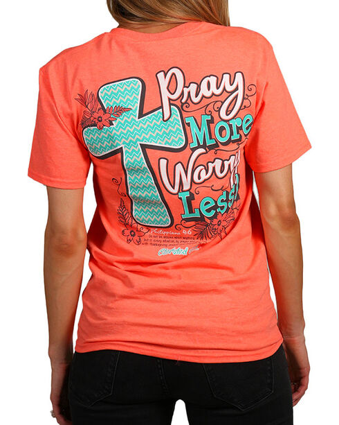 """Cherished Girl Women's """"Pray More"""" Graphic Tee, Coral, hi-res"""