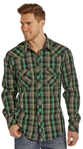 Rock and Roll Cowboy Men's Green Plaid Two Pocket Snap Western Shirt, Multi, hi-res