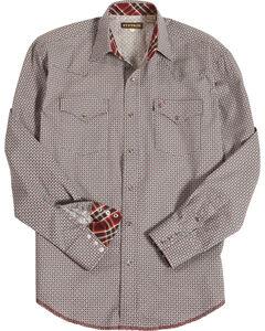 Stetson Men's Grey Geo Print Long Sleeve Shirt , Grey, hi-res